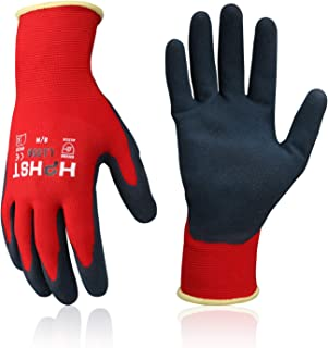 Work Gloves 2 Layers Sandy Latex Palm Coating Men Women Red
