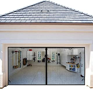 Magnetic Garage Door Screens 16x7 ft Double Door Mesh with Hook and Loop Tape Durable Fiberglass Garage Screen Cover Kit Garage Door Curtain