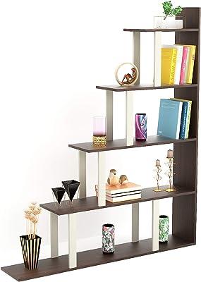Bluewud Wolabey Engineered Wood Ladder Style Bookshelf (Frosty White & Wenge)