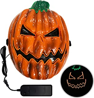 TCJJ Halloween Scary Pumpkin Mask Cosplay Decorations Led Costume Mask EL Wire Light up for Halloween Festival Party Orange