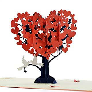 CUTEPOPUP Happy Anniversary Pop Up Cards with Unique Loving Birds Heart Tree Design, Sophisticated Details Come in Shining Envelope - The Perfect Handmade Gifts for Wife, Girl Friends.
