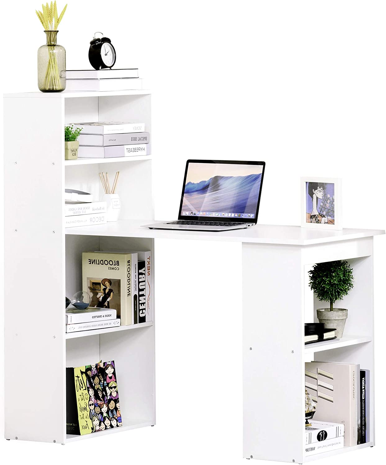 HOMCOM Modern Compact Computer Desk with 6-Tier Storage Shelves Combo, Writing Table Workstation with Bookshelf for Home Office, White
