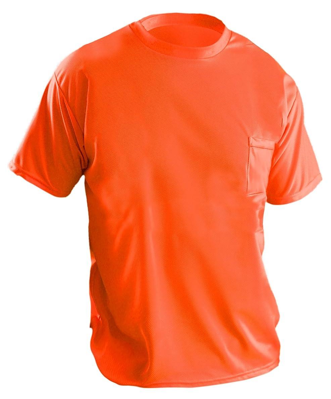 OccuNomix LUX-XSSPB-O2X Short Sleeve Wicking Birdseye T-Shirt with Pocket, Non-ANSI, 2X-Large, Orange (High Visibility)