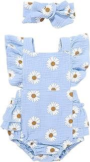 Buhui Tutina estiva per neonata, con stampa margherite, casual, con fascia per bambini