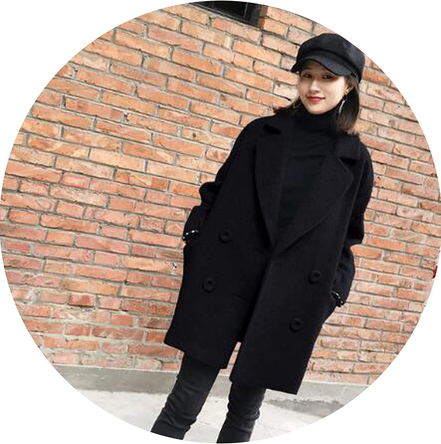Jifnhtrs Girl Wool Coat Jacket Women Long Coat Thicken Loose DoubleBreasted Black Jacket
