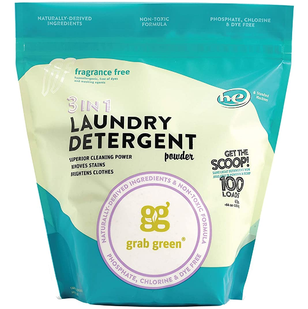 Grab Green Natural 3-in-1 Laundry Detergent Powder, Fragrance Free, 100 Loads iqsr91906