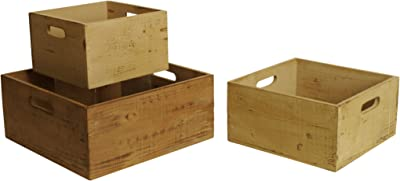 Wald Imports Assorted Wood Decorative Crates, Set of 3