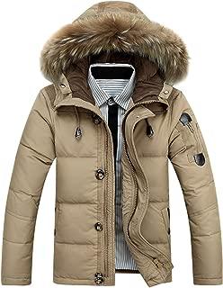 Men's Down Coat with Fur Hood Down Parka Puffer Jacket