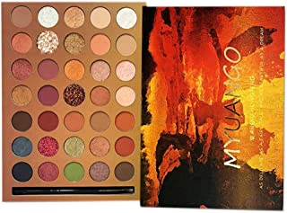 MYUANGO Eyeshadow Makeup Palettes High Pigmented Soft Creamy Christmas Metallic Matte Shimmer Glitter 35 Colors Nude Burgundy Ultra Natural Blendable Eye Shadow With Eyeshadow Applicators Kit