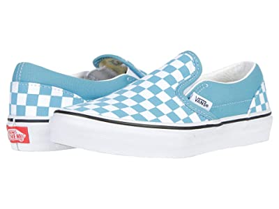 Vans Kids Classic Slip-On (Big Kid) ((Checkerboard) Delphinium Blue/True White) Kids Shoes