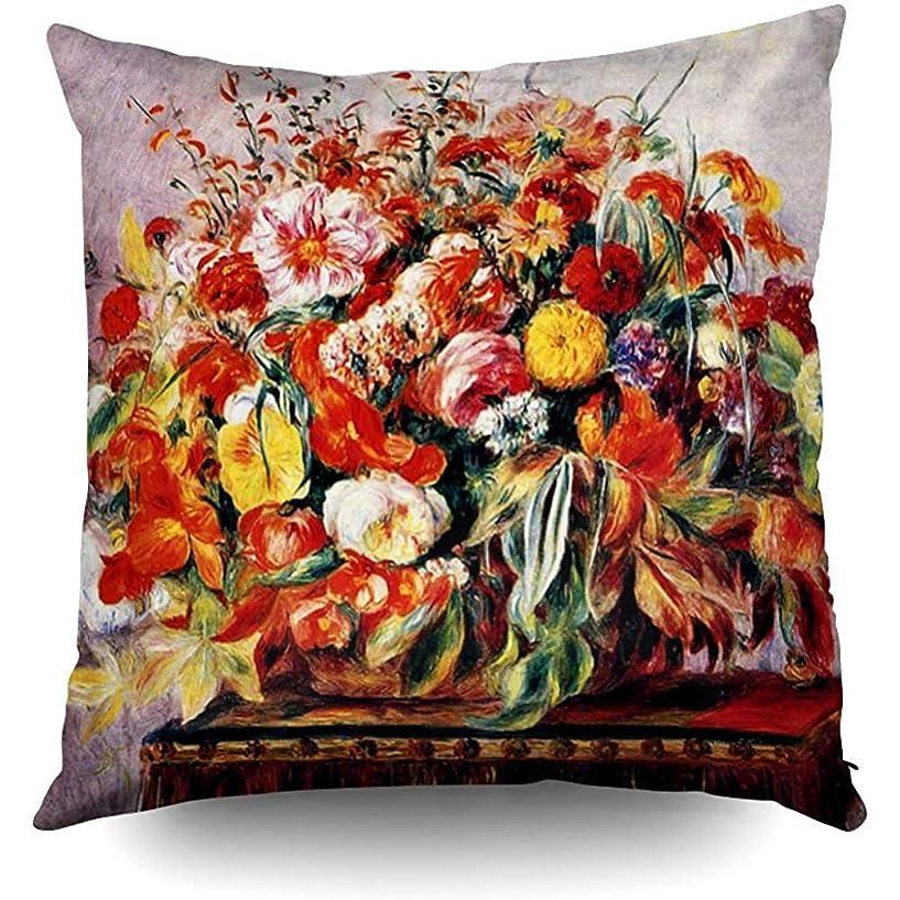 相談する中央不潔XixiL Pillowcase Renoir Basket of Flowers Decorative Throw Pillow Case 20X20Inch Home Decoration Pillowcase Zippered Pillow Covers Cushion Cover with Words for 枕カバー;正方形; 20 * 20インチ;家;手頃な価格;