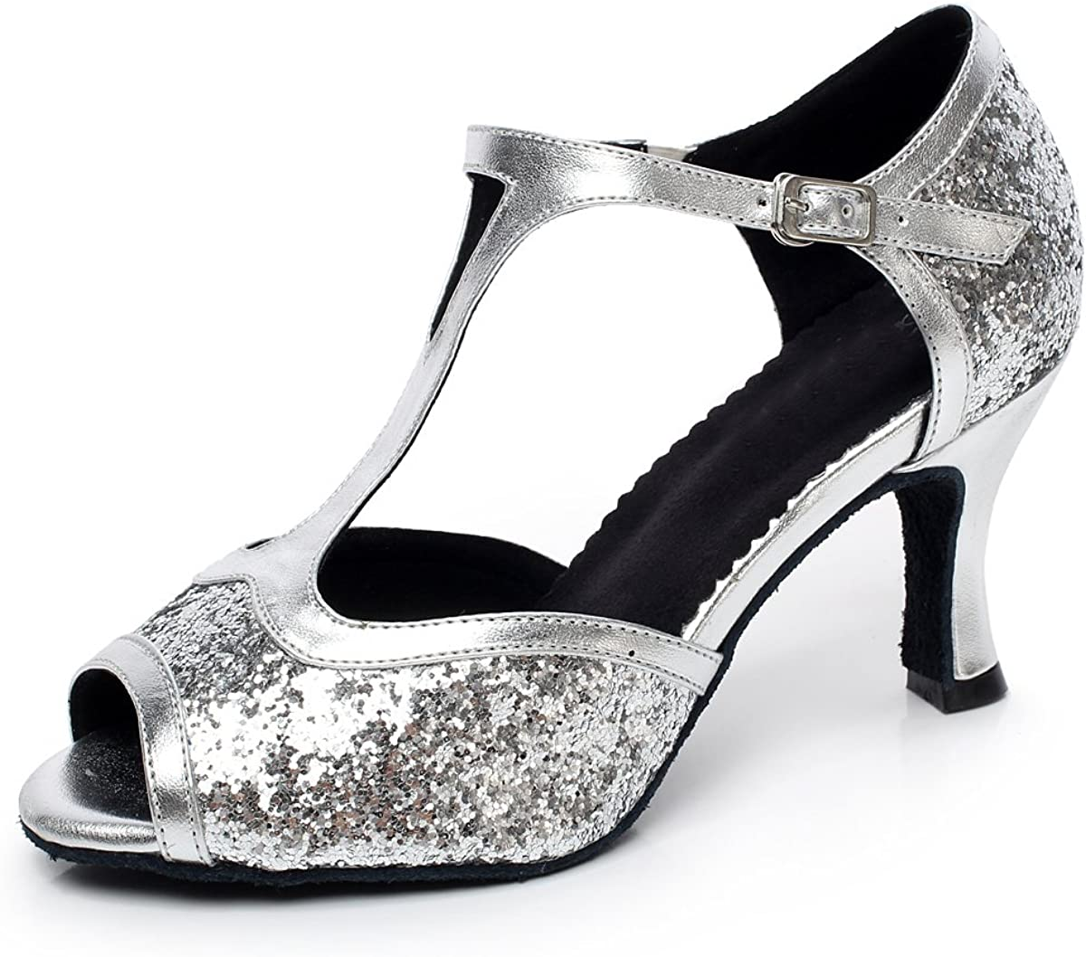 Minishion Women's Style QJ6205 Flare At the Super Special SALE held price of surprise Lat Glitter Salsa High Heel
