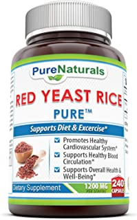 Pure Naturals Red Yeast Rice Dietary Supplement, 1200 Mgper Serving Capsules, 240Count, Promotes Healthy Ca...