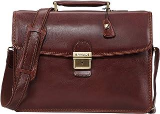 Banuce Full Grain Leather Briefcase for Men Business Lock Attache Case Messenger Bag