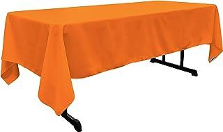 "LA Linen Polyester Poplin Rectangular Tablecloth 60 by 144"" , Orange"