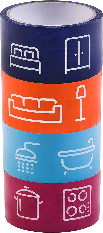Easymove B22207 B22207-Juego de Cintas Adhesivas Unidades, 40 m x 50 mm, Autoadhesivas, con símbolos para facilitar la asignación-Ideal para mudanzas, cartón, Etiquetas de Colores, 4-teilig