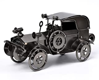 QBOSO Metal Antique Vintage Car Model Handcrafted Collections Collectible Vehicle Toys for Bar or Home Decor Decoration Great BirthdayGift (Iron Black, Large)