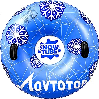 """MOVTOTOP Snow Tubes, 47""""Inflatable Snow Sleds, Durable Snow Tubes for Sledding with Handles, Heavy Duty Inflatable Snow Tube Made by Thickening Material of 0.6mm"""