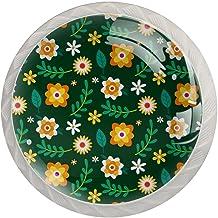 ATOMO 4 Stks Kabinet Knoppen voor Lade dressoir Keuken Kasten Garderobe Badkamer Bloemen Groen