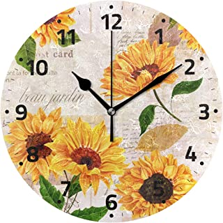 Yellow Sunflower Wall Clock Battery Operated Non Ticking Silent Sunflower Clock for Living Room Kitchen Bedroom Home Decor Decoration
