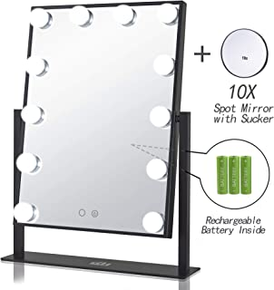 Geek-House Rechargeable Lighted Vanity Mirror Hollywood Style Makeup Tabletops, Large Cosmetic Mirror with 12 x 3W Bright Dimmable Touch Control LED Bulbs, Black