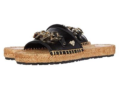 LOVE Moschino Rope Sole Chain Flat Sandal (Black) Women
