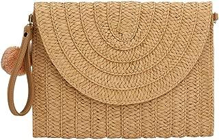 Straw Clutch Handbag, Women Straw Tote Purse Envelope Bag Wallet Summer Woven Beach Bag
