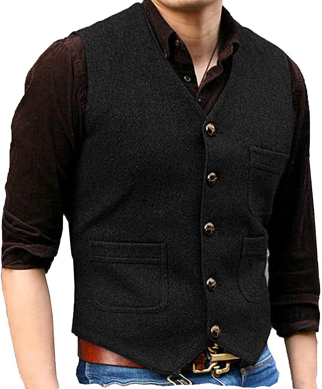 Men's V Neck Wool Herringbone Tweed Casual Waistcoat Business Suit Vest (L,Black)