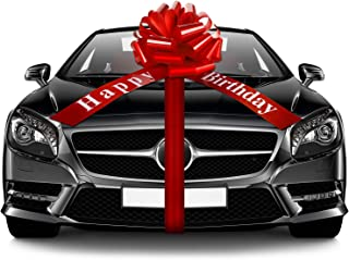 20 Inches Happy Birthday Car Bow Red Car Pull Bow Car Gift Wrapping Bow with 20 Feet Car Ribbon for Birthday Party Car Decoration