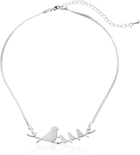 Mother and Baby Birds on a Branch Silver-Plated Pendant Necklace