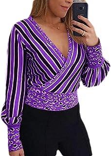 Women Front Cross Leopard Stitching Stripes Long Sleeve Sexy Deep V Neck Chiffon Shirt Top