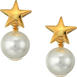 Polished Gold Star Top and White Pearl Bottom Post Earrings