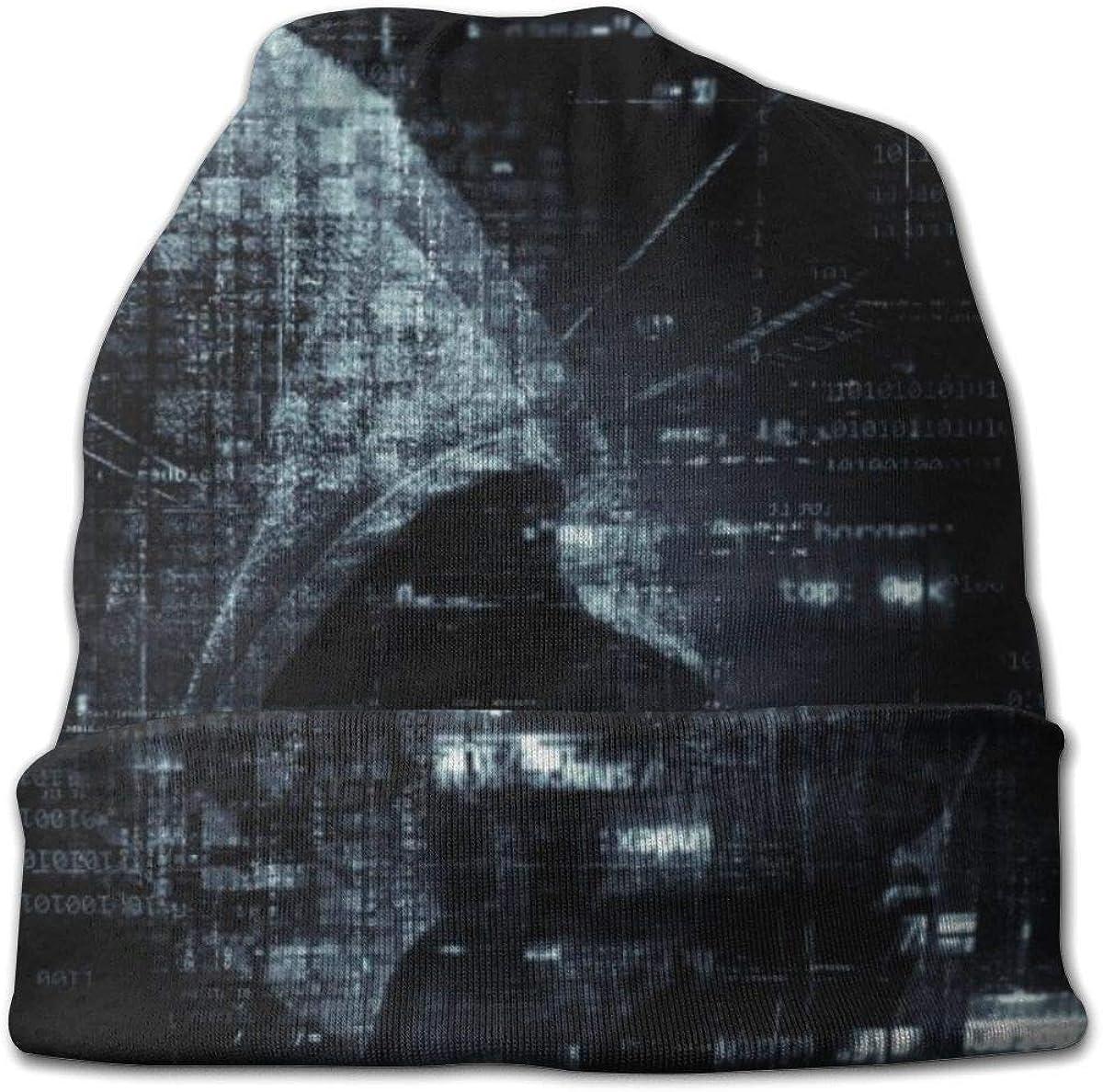 Hacker Attack Password Beanie Hat for Men and Women - Warm Unisex Cuffed Plain Skull Knit Hat Cap