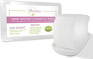 Rooniess Cotton Pads Makeup Remover | Non-woven squares Lint Free Cosmetic Wipes |Toner Pads | Facial Micellar Water Eye Lip Cleansing | Nail Polish remove | Large Pads 400 count