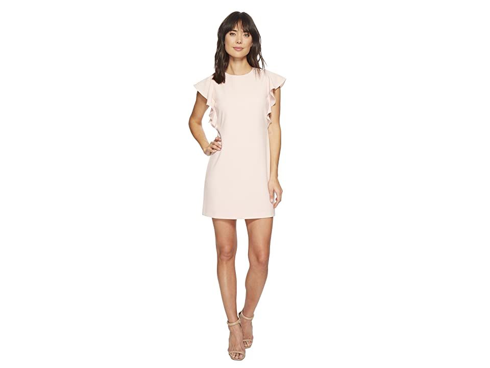 Laundry by Shelli Segal Crepe Shift Dress with Metal Details (Soft Blush) Women