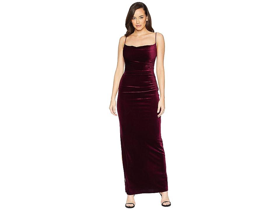 Laundry by Shelli Segal Velvet Long Slip Dress (Deep Garnet) Women