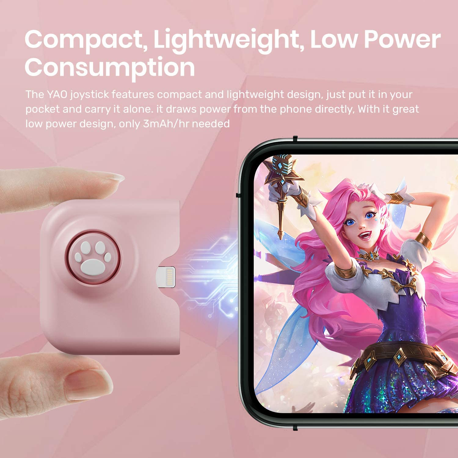 IFYOO YAO L1 Pro Mobile Game Controller Joystick for iPhone (iOS 13.4 or Later), Gaming Gamepad for PUBGG Mobile, Call of Duty Mobile(CODM), Wild Rift, Genshin Impact, with 2 pcs Finger Sleeves - Pink