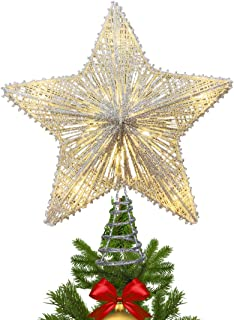 MAOYUE Christmas Tree Topper Lighted, Star Tree Topper with 10 LED Lights, Sliver Glittered Christmas Tree Decorations for Indoor Home Décor