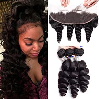 Maxine Loose Wave Bundles with Frontal 13x4 Ear to Ear Lace Closure 10a Brazilian Unprocessed Virgin Human Hair Weave Extensions 100g/pcs Natural Color (20 22 22 with 18)