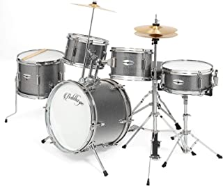 Ashthorpe 5-Piece Complete Kid's Junior Drum Set with Genuine Brass Cymbals - Children's Professional Kit with 16