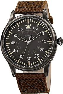 August Steiner Men's Black Dial Canvas Band Watch - AS8125BR, Fabric, Analog, Swiss Quartz Movement