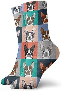 Elsaone, Niños Niñas Locos Divertidos Boston Terriers Azulejos Bulldog Perro Conjunto Patrón Calcetines lindos del vestido de la novedad