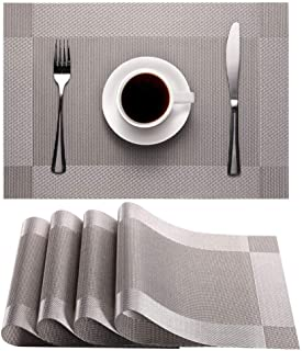 Placemats Set of 4, Heat-Resistant Woven Vinyl Placemat, Non-Slip Washable PVC Table Mat, Easy to Clean Premium Plastic pl...