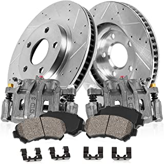 CCK11338 FRONT OE [2] Calipers + [2] Drilled/Slotted Rotors + Quiet Low Dust [4] Ceramic Pads Kit