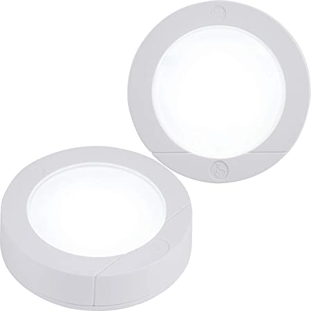 GE, Wireless, Battery Operated, 20 Lumens, Touch Activated On/Off, Bright White, Ideal for Closets, Cabinets, Attic, Garage and More, 25434, 2 Pack, LED Puck Lights, 2 Count