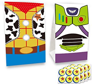 24 pcs Toy Inspired Story Birthday Party Supplies Favor Goodie Gift Bags, Including Woody and Buzz Lightyear 2 Patterns fo...