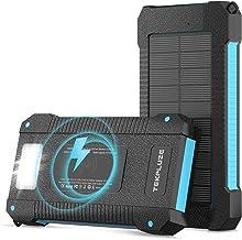$35 » Solar Power Bank 30000 mAh, Wireless Portable Charger Solar Panel External Battery Type-C 5V Dual USB with LED Flashlight ...