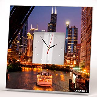 Night Skyline Chicago River Downtown Skyscraper Wall Clock Framed Mirror Decor Art Home Design Gift