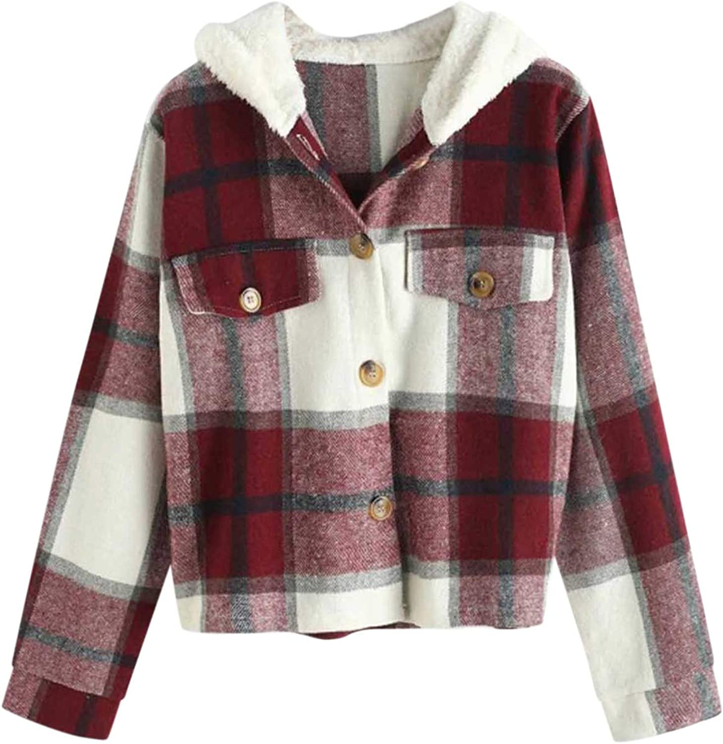 Forwelly Women's Girl Fall Winter Cropped Jacket Fashion Plaid Hoodies Cute Hooded Coat