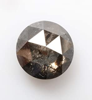 0.95 ct 5.9 mm Natural Loose Diamond Salt and Pepper Transparent Black Color Beautiful Round Rose Cut Diamond R4029
